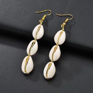 Triple Cowrie Shell Sea Shell Earrings